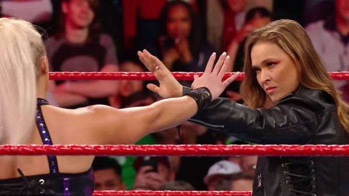 Ronda Rousey Gets Physical With Dana Brooke At RAW (Video)