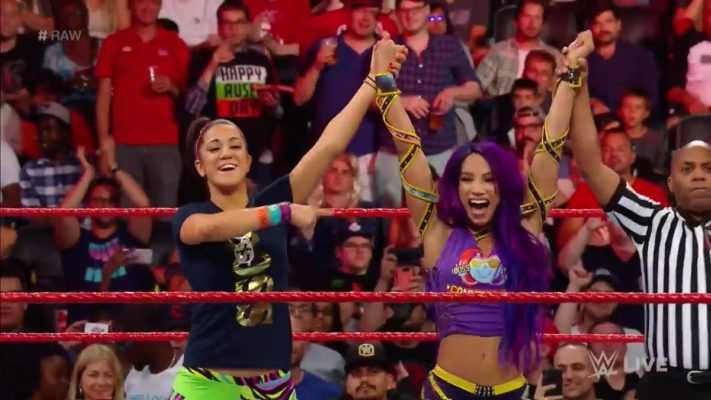 22910aca4349 Sasha Banks   Bayley were set to face Alicia Fox and Nikki Cross tonight on  RAW. The winner of the match would earn a spot in Women s Tag Team  Championship ...